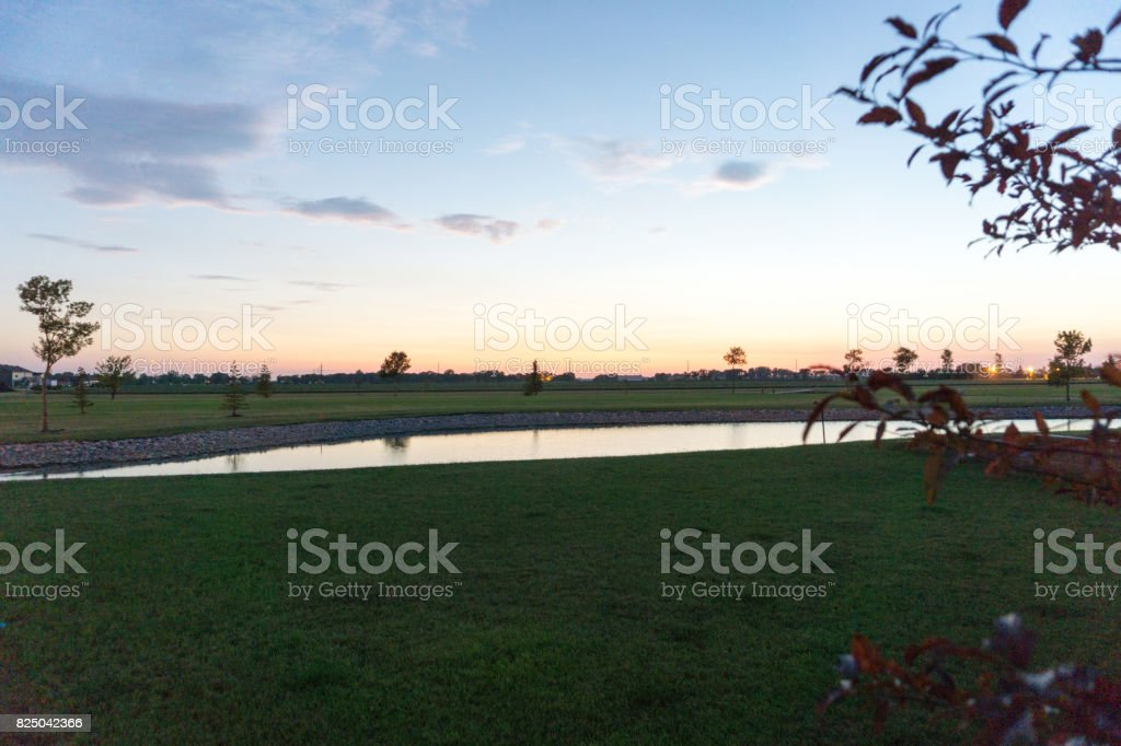 Night Golf Course stock photo