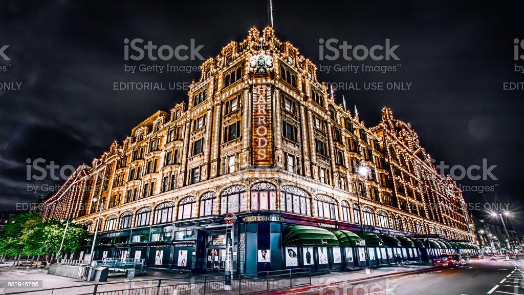 night harrods London, UK - May 12, 2017:Famous London landmark Harrods in the night Architecture Stock Photo