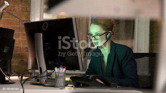 istock Night headset 874948164