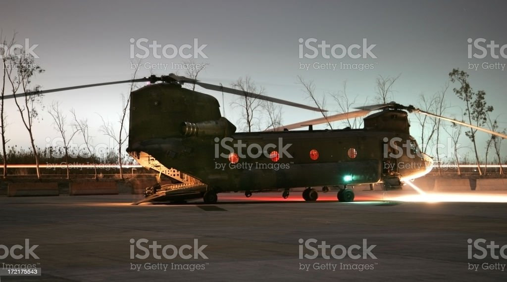 Night Helicopter stock photo
