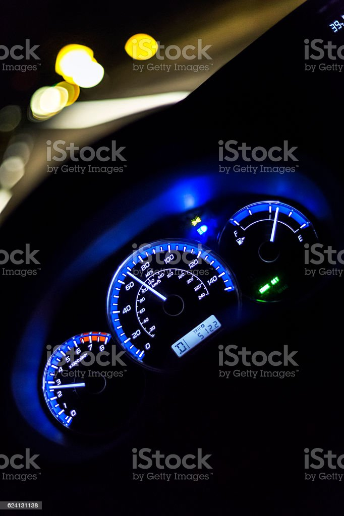 Night Highway Lights Motion Blur First Person Car Driver POV stock photo
