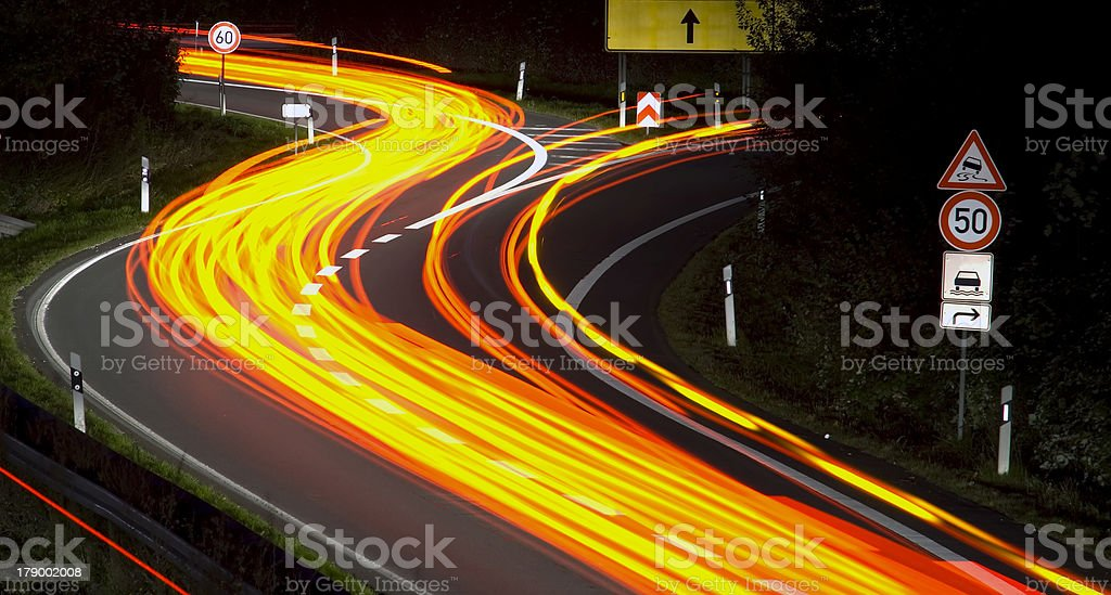 Night highway stock photo