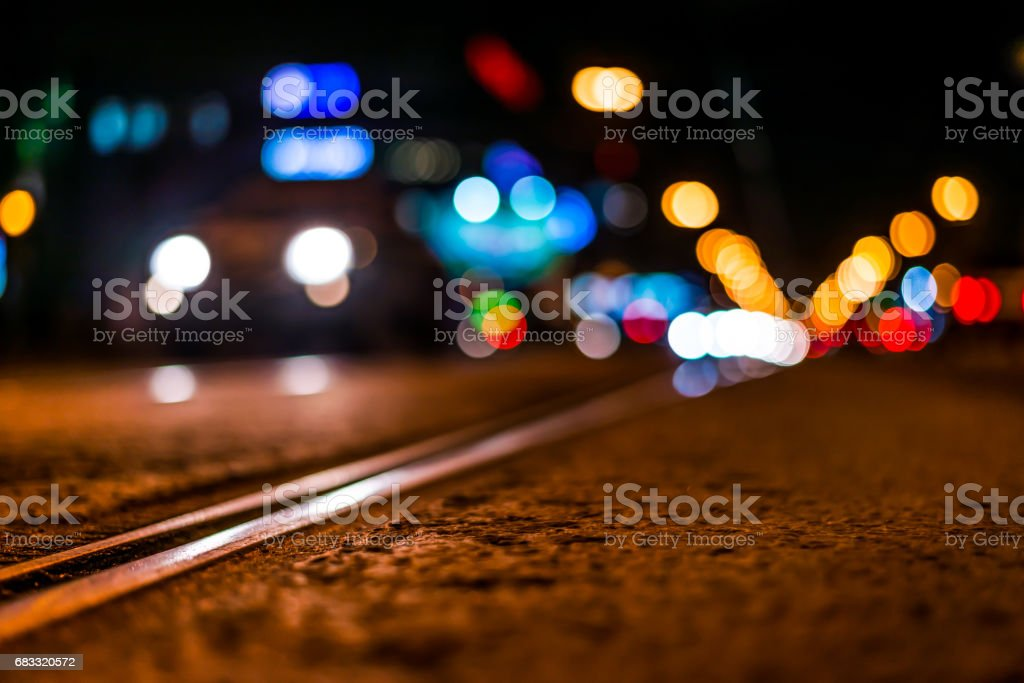 Night highway with rails, car go over it royalty-free stock photo