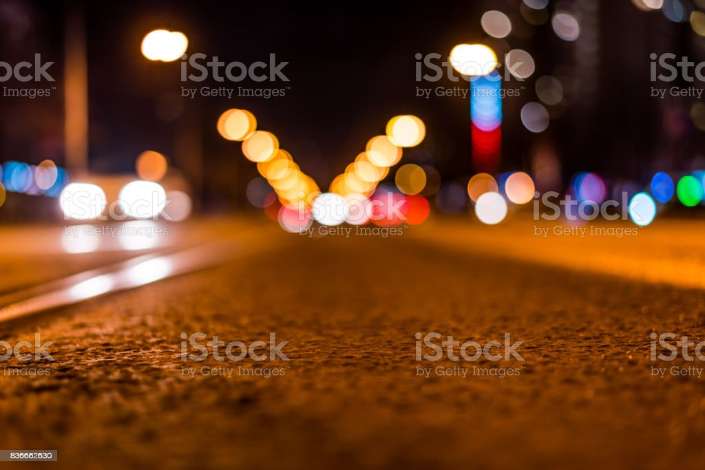 Night highway with rails, car go over it stock photo