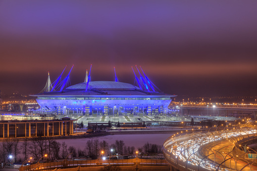 Night illumination, 2018 World Cup stadium in St. Petersburg, Russia.