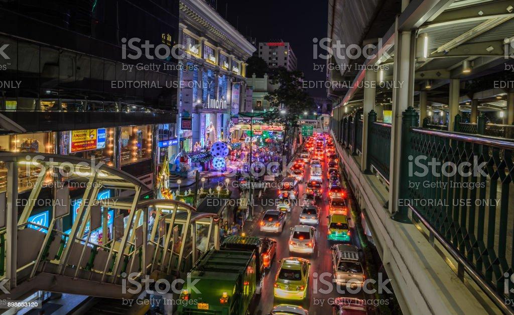 night illumination of christmas and happy new year 2015 festival in bangkok thailand royalty