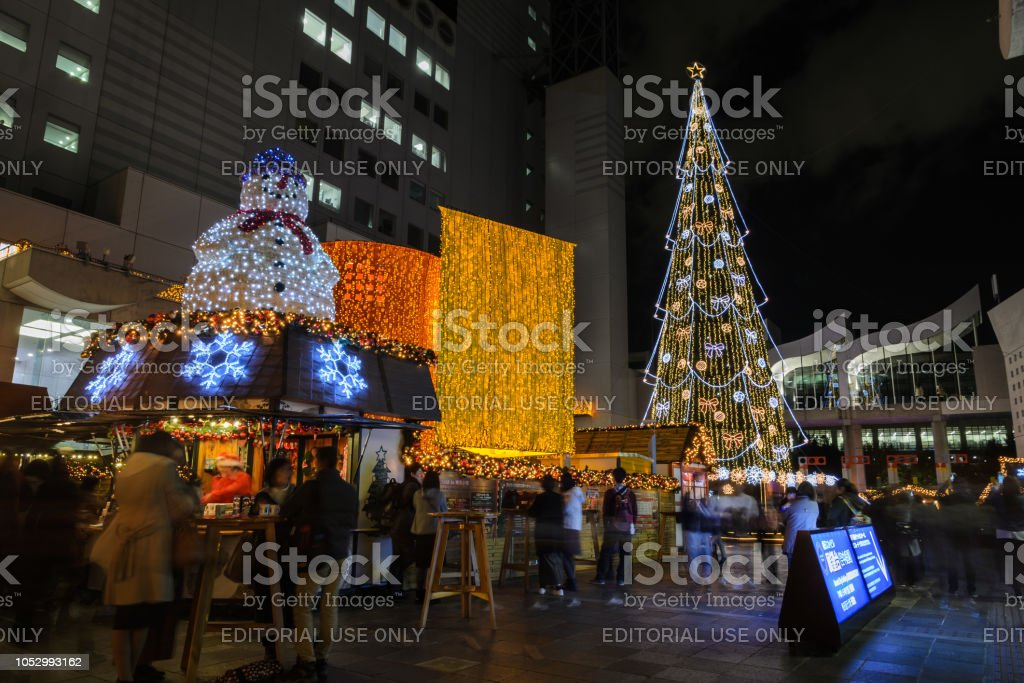 Nachtbeleuchtung der Weihnachtsfeier 2016 in Osaka, Japan – Foto