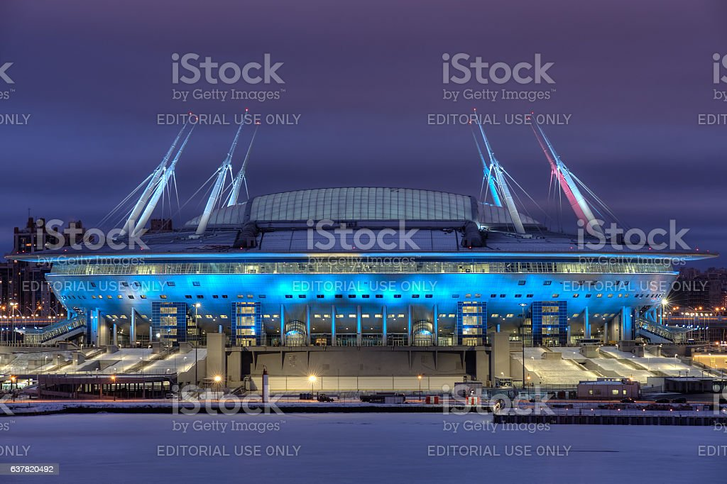 Night illumination of Stadium for FIFA World Cup Russia, Saint-Petersburg. stock photo