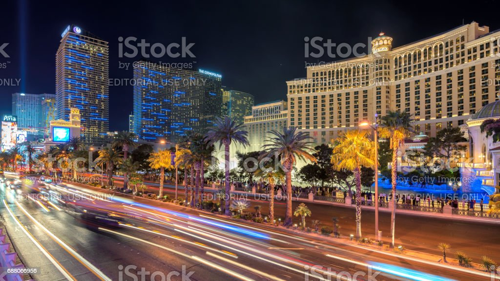 Night illumination on Las Vegas Strip, Nevada. stock photo