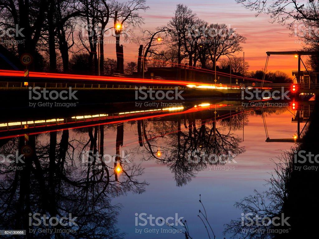 night image of a drawbridge stock photo