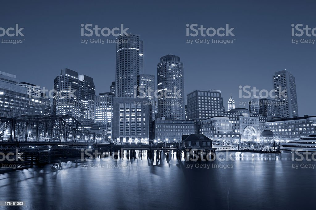 A night image of Boston lit up stock photo