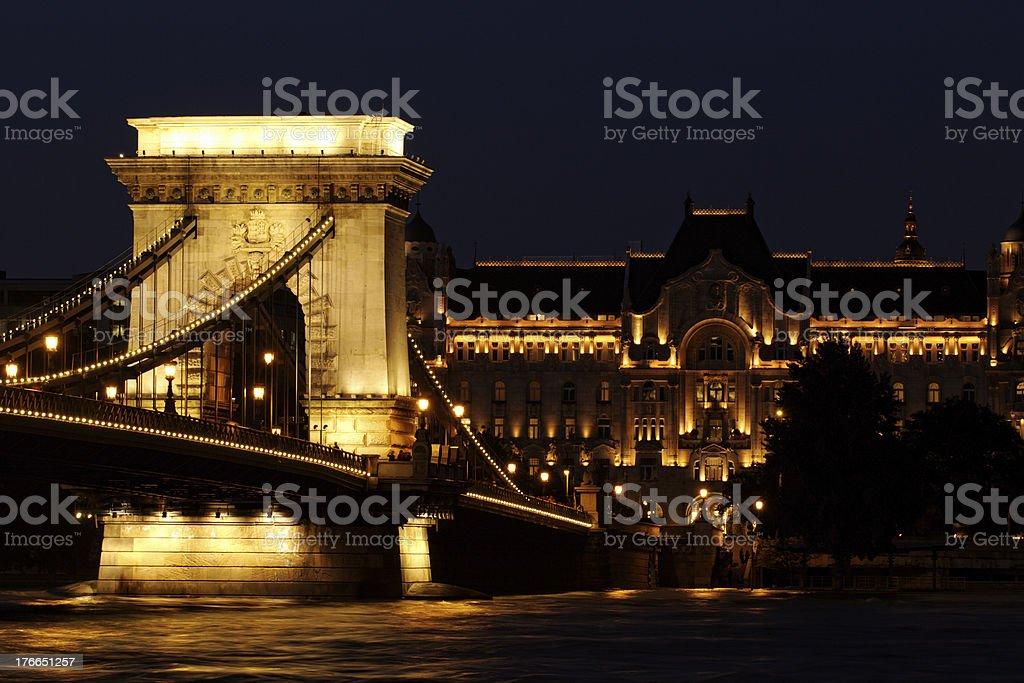 Night image of the hungarian chain Bridge royalty-free stock photo