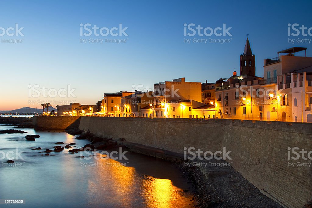 Night in Alghero stock photo