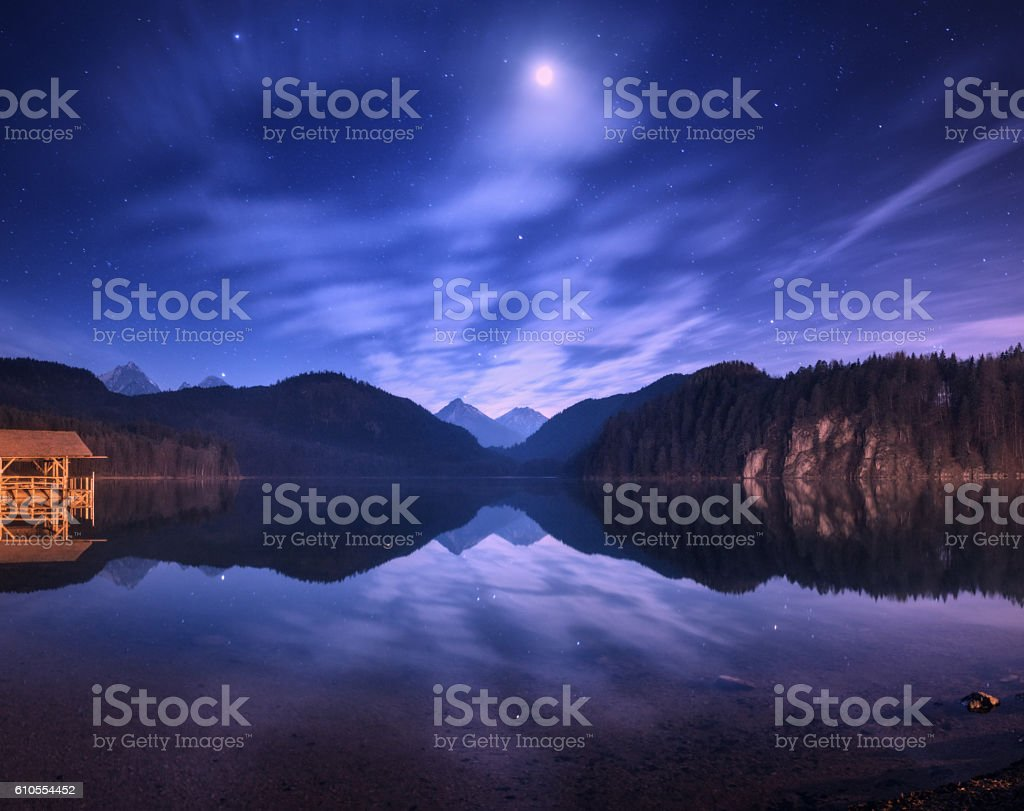 Night in Alpsee lake in Germany. Colorful night landscape stock photo