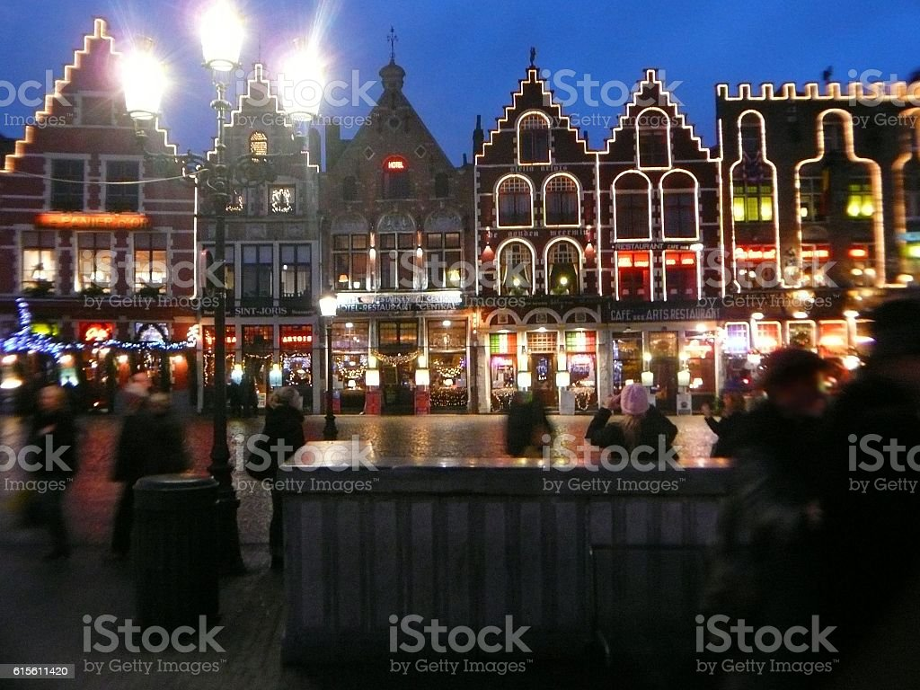 Night in Bruge town square at Christmas - Photo