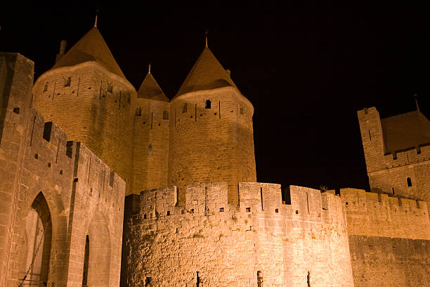 night in Carcassonne stock photo