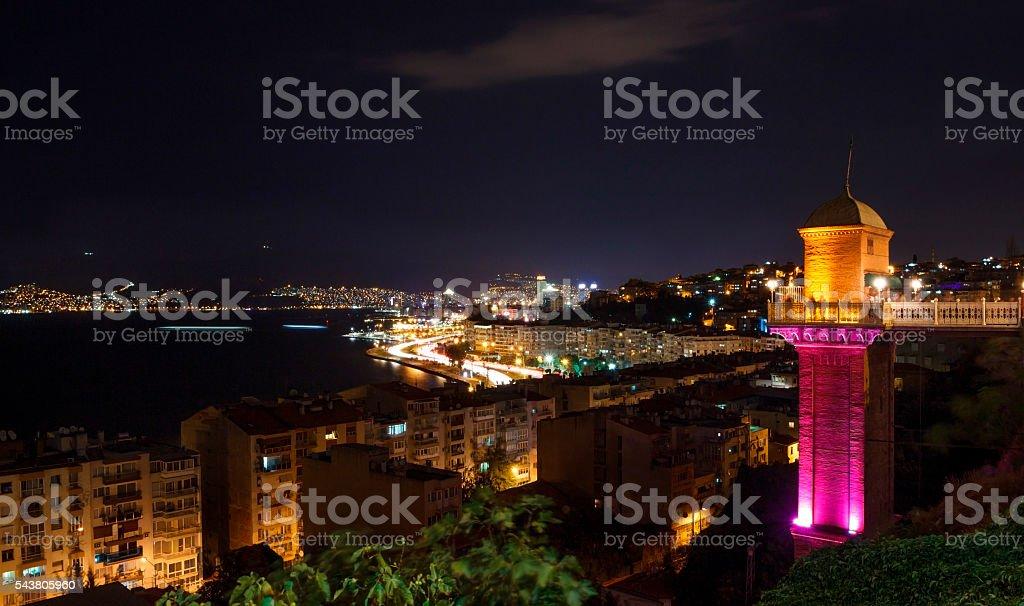 Night in Izmir with Elevator stock photo