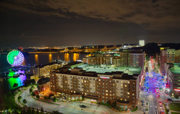 Night in National Harbor, Maryland, USA stock photo