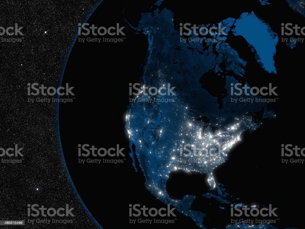 Night in North America stock photo