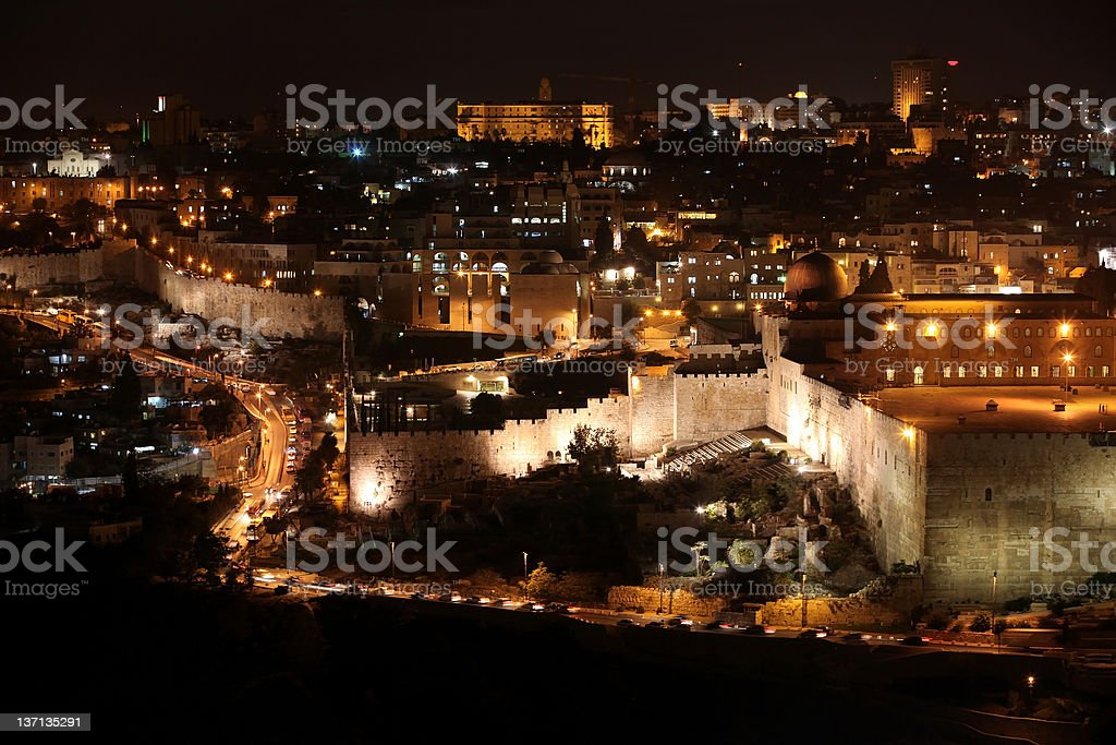 Night in old city Jerusalem, Temple Mount with Al-Aqsa royalty-free stock photo