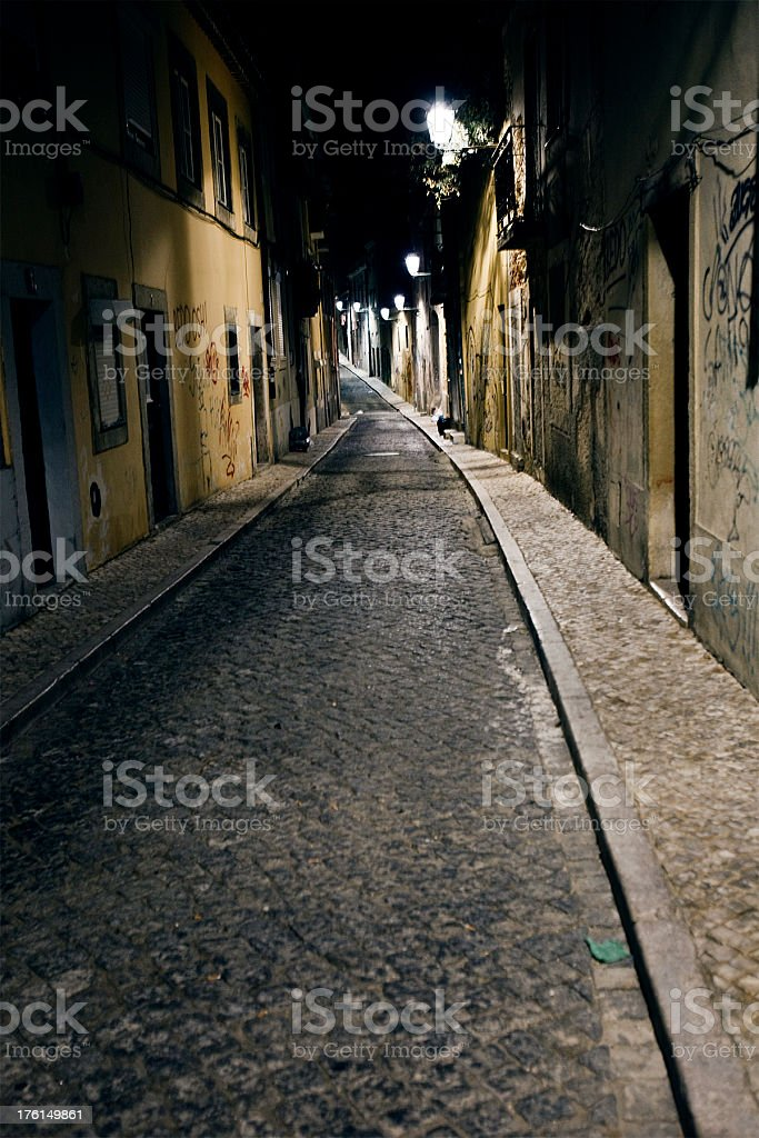 night in old town stock photo