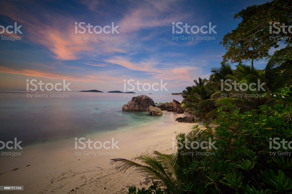 Night in paradise, Seychelles stock photo