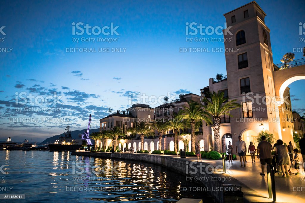 Night in Porto Montenegro ,Tivat royalty-free stock photo