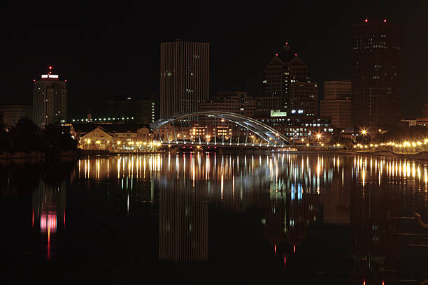 night in rochester downtown - rochester ny skyline stock photos and pictures