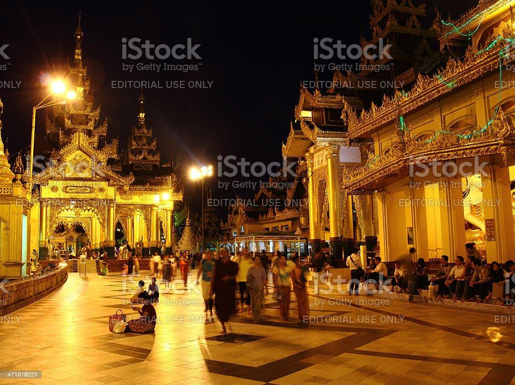 night in Shwedagon pagoda_Yangon royalty-free stock photo