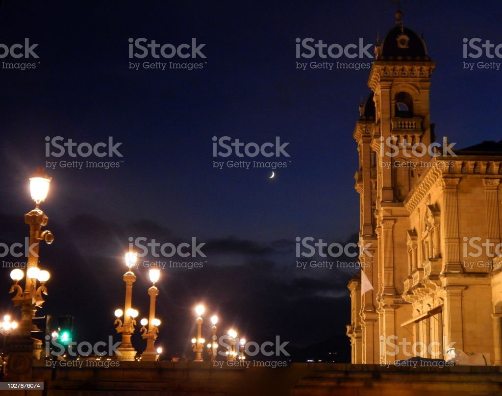 A night in St Sebastian. stock photo