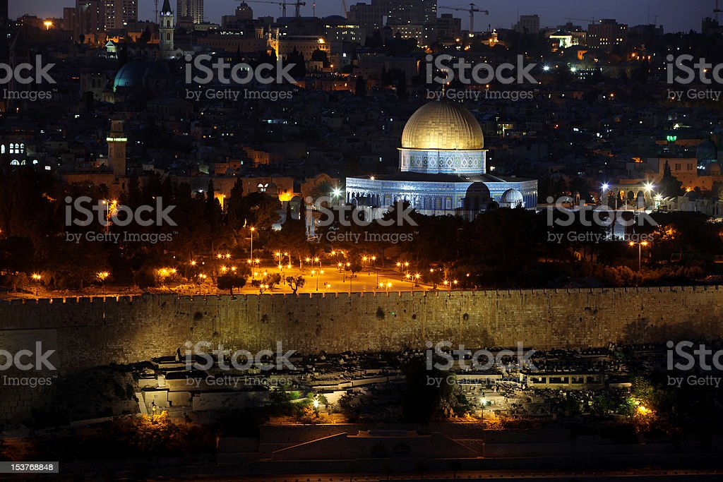 Night in Temple Mount, Dome of the Rock, Jerusalem royalty-free stock photo