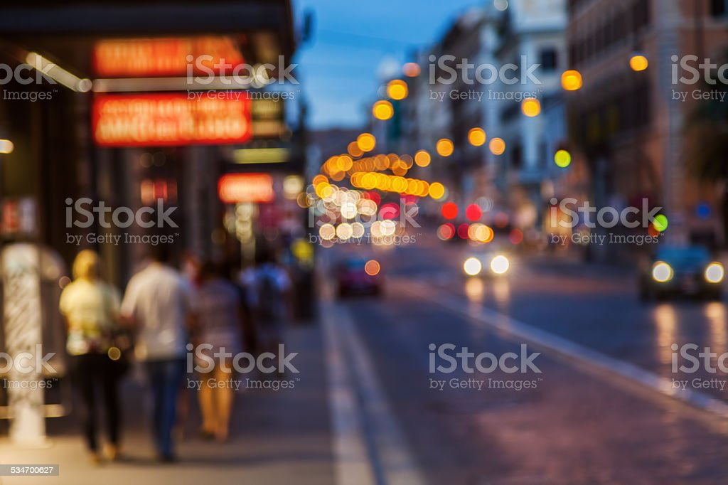 night in the city out of focus stock photo