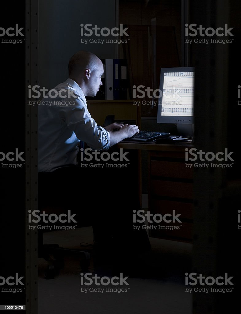 Night in the office. stock photo