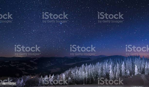 Photo of Night in the snowy mountains
