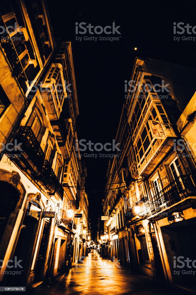 Night in town - La Coruna, Spain stock photo