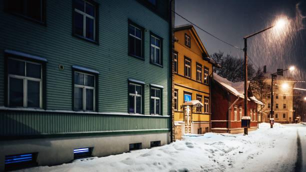 Night in town - Tallinn, Estonia stock photo