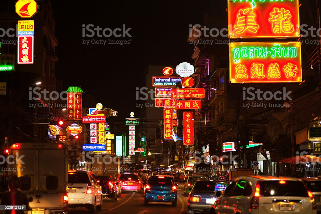 Night in Yaowarat Road stock photo