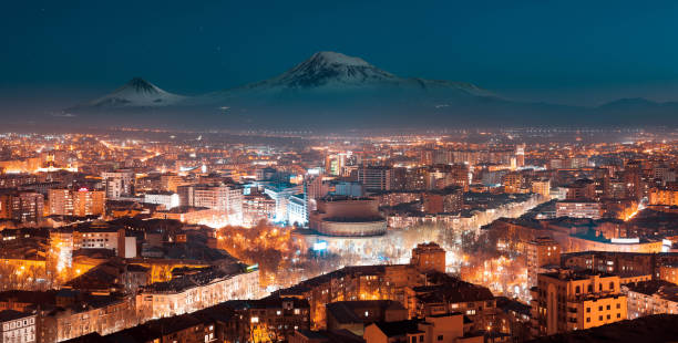 Night in Yerevan, Armenia from Cascade Night in Yerevan, Armenia from Cascade, Ararat mountain at the background yerevan stock pictures, royalty-free photos & images