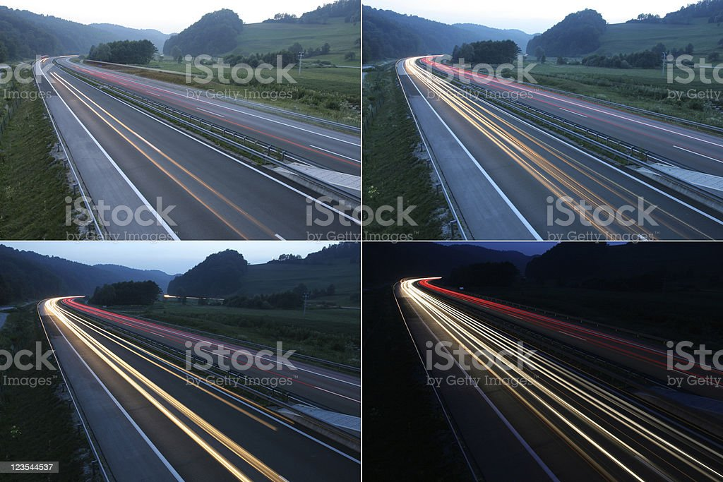 Night is coming - car light trails royalty-free stock photo