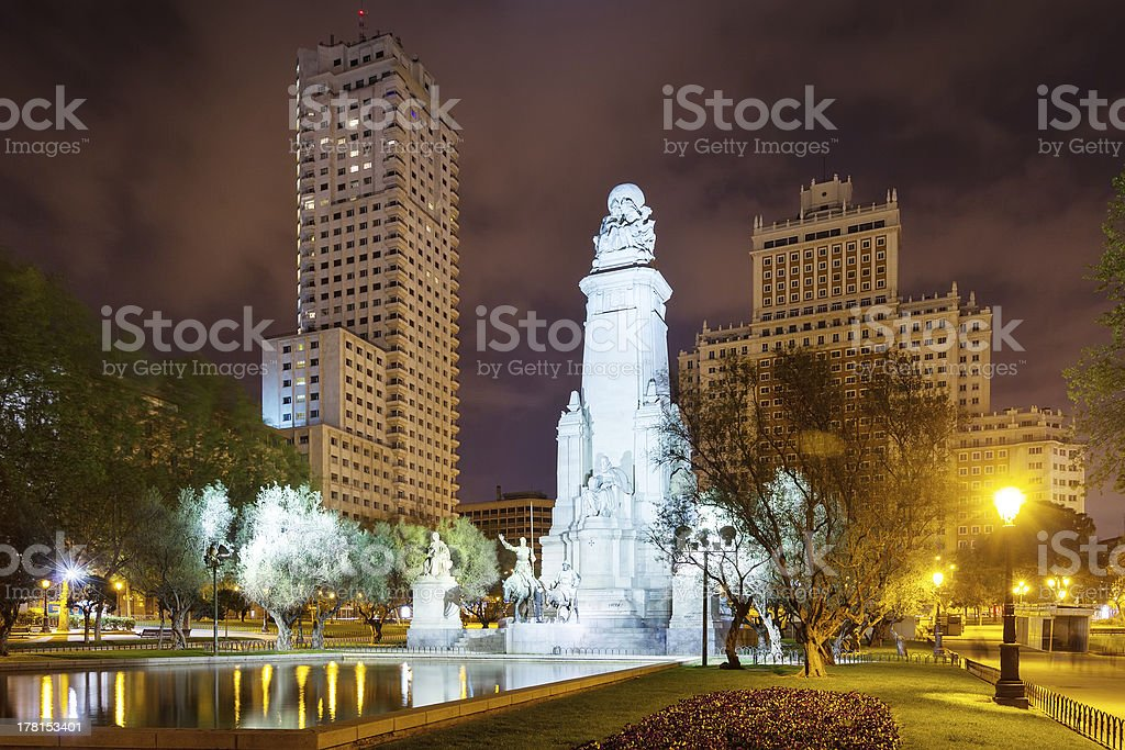 Night kind of Spain Square. Madrid royalty-free stock photo