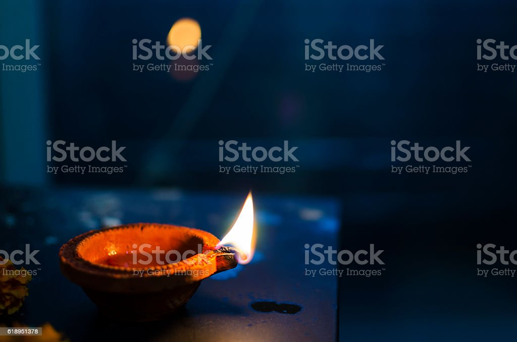 Night lamp earthen lamp Diwali Merry Christmas stock photo