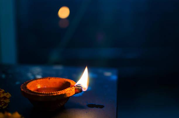 Night lamp earthen lamp Diwali Merry Christmas stock photo
