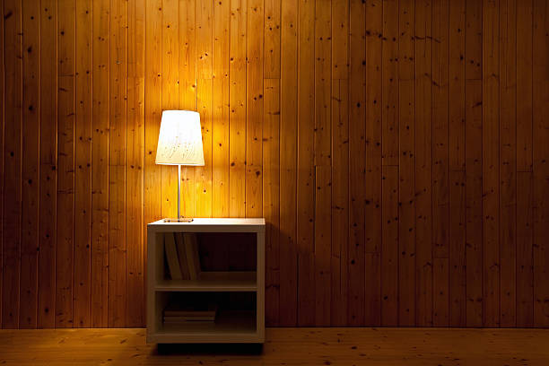 Night Lamp In The Bedroom With Wooden Wall Stock Photo Download Image Now Istock