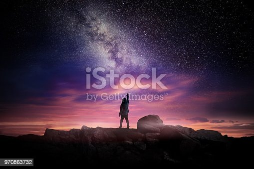 istock Night Landscape And Milky Way 970863732