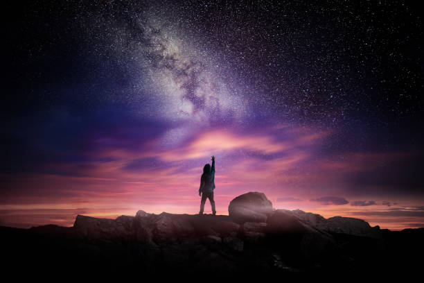 Night Landscape And Milky Way stock photo