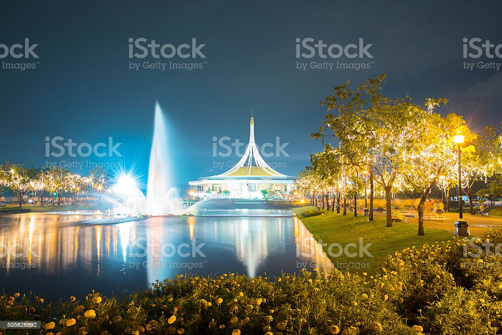 Night landscape in the park with fountain stock photo