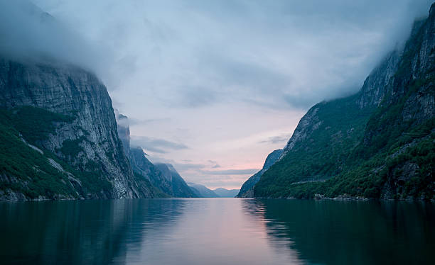 Night landscape of Lysefjord. Norway fjords scenics. – Foto