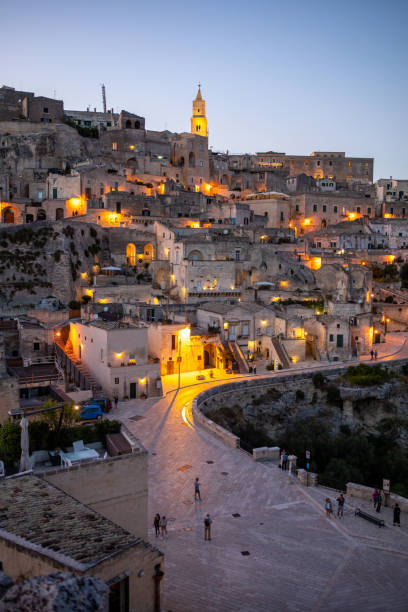 Night landscape of the Sassi of Matera, well-known for their ancient cave dwellings. Basilicata. Italy