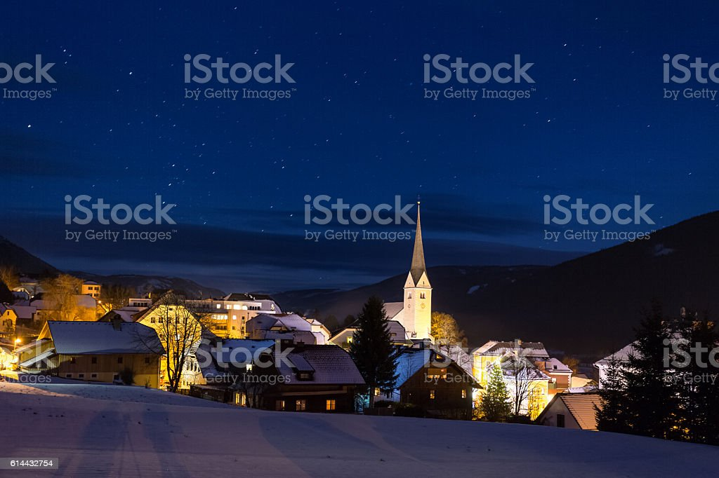 Night landscape of traditional highland town at Austria stock photo