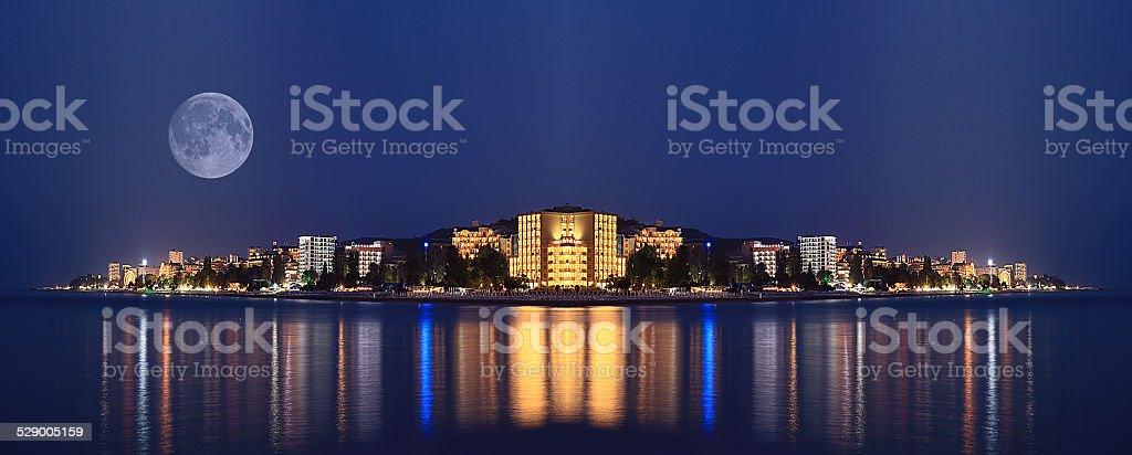night landscape panorama sea hotels lights stock photo